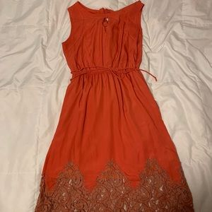 Rusty Red Lace bottom Dress